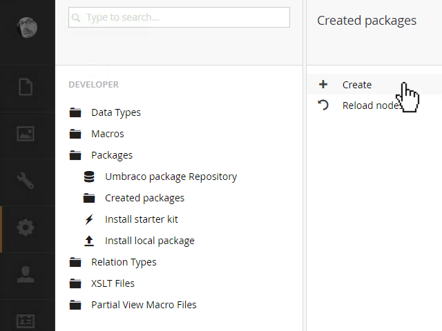 pre v7.5 Create Packages dashboard